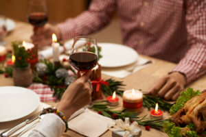 holiday dinner with wine